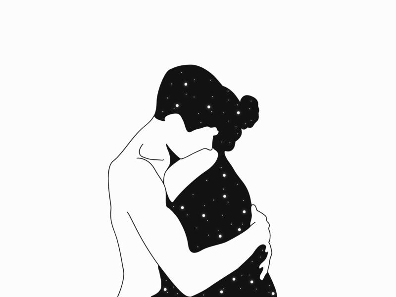 Couple vector justforthelol meh space sweet art design illustration