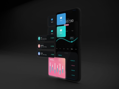Financial UI kit | dark mode darkmode freeuikit uikit financial app bankingapp made with adobexd app ux ui