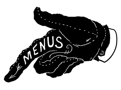 Menus Pointer hand point glove menu finger arrow sign mural