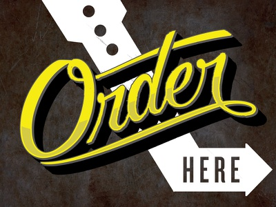 Order Here order yellow arrow script cursive sign hand lettering hand drawn sign painting