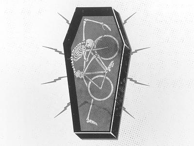 Lifer bike coffin bones skull skeleton screenprint print poster bicycle death bolt texture