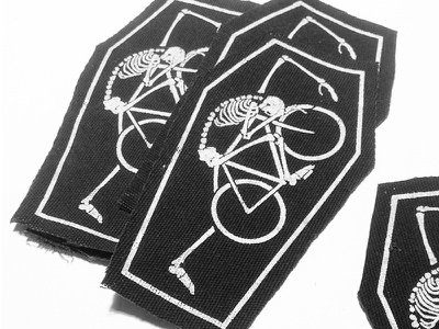 Lifer Patch bike patch coffin death print screenprint skull bones bicycle black