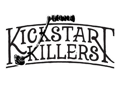 Kickstart Logo WIP moto motorcycle logo branding lettering hand drawn black
