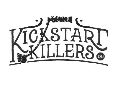 Kickstart Logo 2 moto motorcycle logo branding lettering hand drawn black