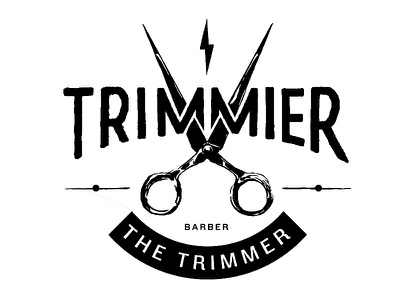 The Trimmer hand drawn hand lettering bolt barber scissors logo type lettering