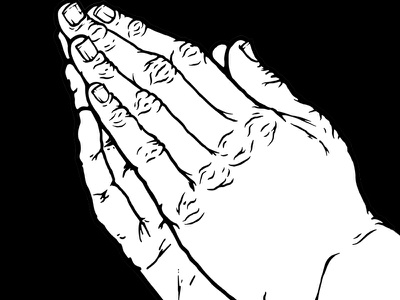 Praying Hands finger line white black hand drawn hand-drawn drawing illustration praying pray hands