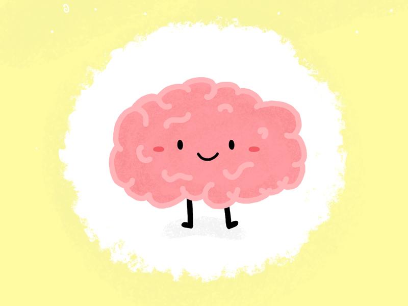 Happy Brain - Brain illustration doodle texture photoshop cute