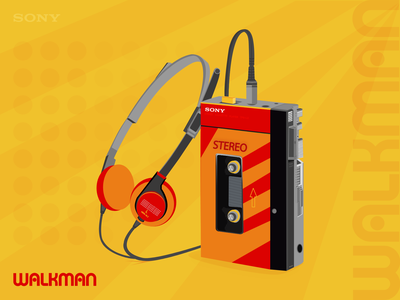 WALKMAN - MUSIC PLAYER vectorillustrator icon musicplayer walkman retro old headphones music art music branding vector illustration design