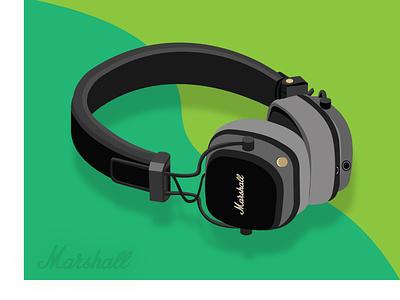 Marshall Wireless Headphone earphones headphones vectordesign illustrator spotify music web ui branding vector illustration design