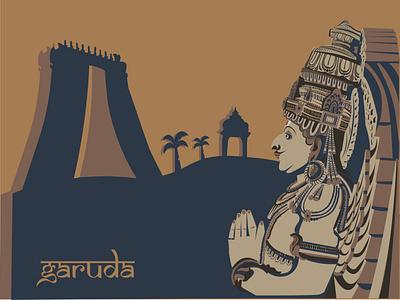 Old Indian Architecture Illustration -Lord Garuda indian vector branding illustration design