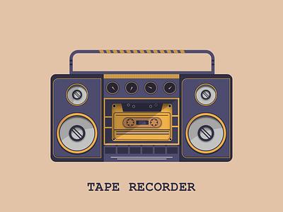 Tape Recorder music app music vector illustration vectorart speaker sound casette old tape recorder design vector illustration