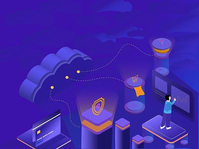 Cloud Enabled POS Software cloud services cloud storage isometric art isometric illustration payment isometric 3d art cloud software cloud app ui web branding app vector illustration design