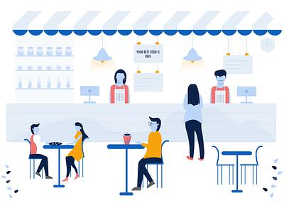 Landing Page Illustration vector illustration landing page restaurant software restaurant app web branding design vector illustration