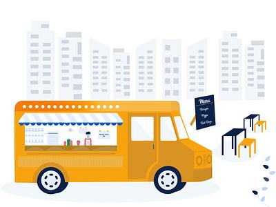 DRIBBBLE FOOD TRUCK food app pos restaurant app ui app web branding vector illustration design