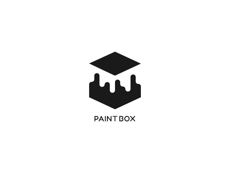 PAINT BOX monogram minimal logo identity grid flat brand