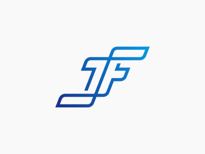 JF monogram gradien minimal clean flat lettermark monogram logo