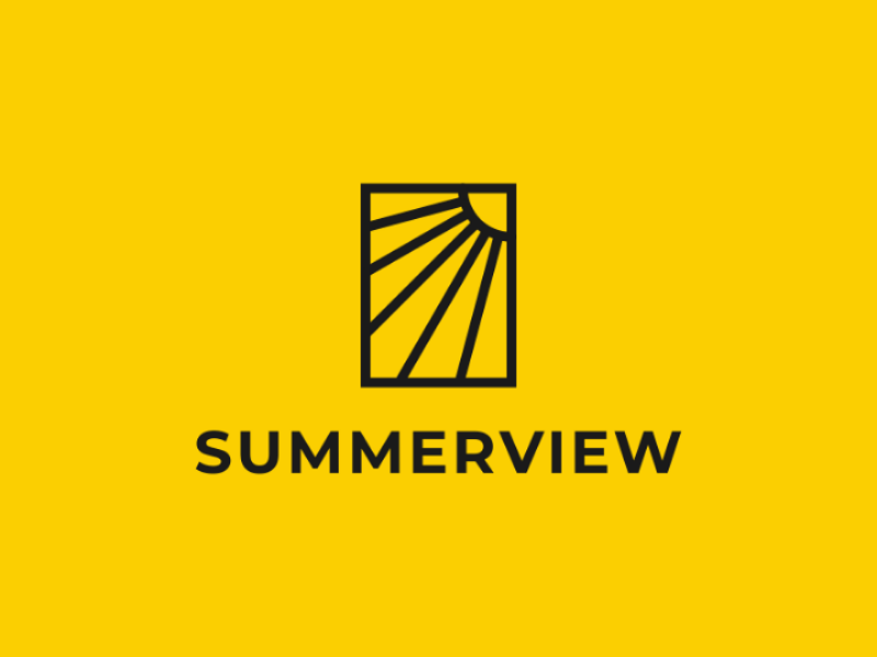 Summerview sun idea window view summer branding logo