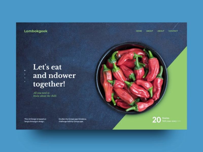 Food Landing Page elegant food trend chili landing page web design ux ui