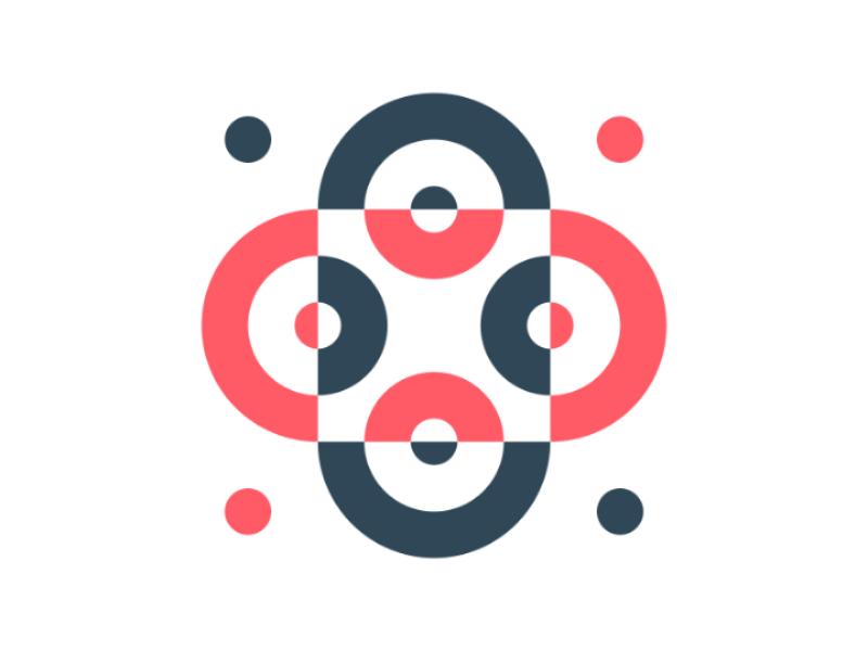 Geometric exploration - 1 blue red square circle identity branding illustration flat harmony minimal pattern geometric