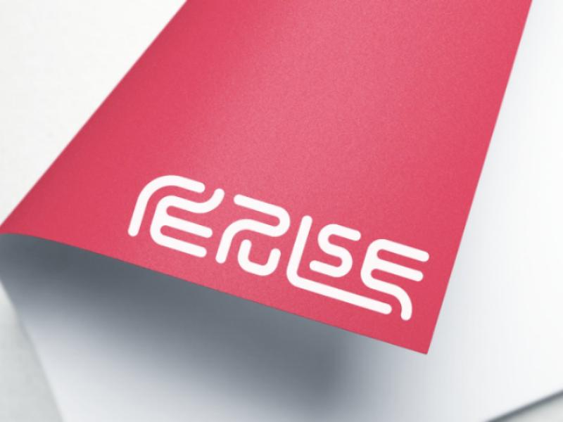 Repulse minimalist minimal flat scene mockup round logotype white red paper logos logo