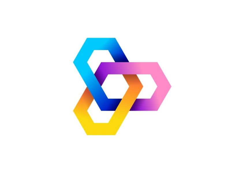 Paying gradien blockchain tech branding brand logo bold modern minimal gradien flat