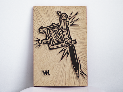 Traditional tattoo machine woodcut