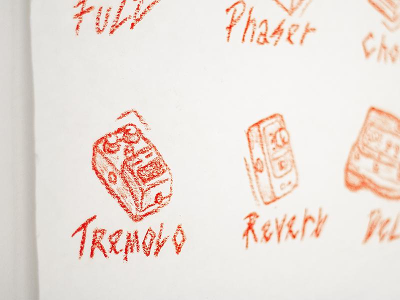 Pastel tones detail rig music sound fuzz reverb tremolo electric bass guitar effects illustration sketch pedal crayon pastel