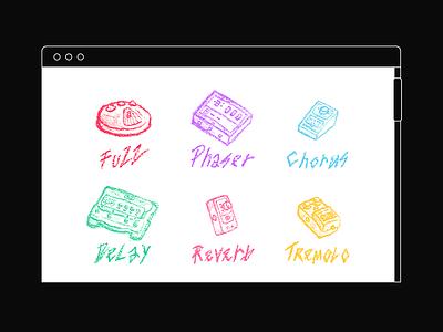 Chromatones html css html responsive web ui guitars grid drawing sketch illustration unit stompbox process guitar effects color rainbow pedals
