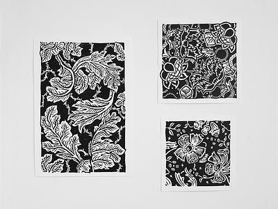 Acanthus, Cray and Echeveria. texture pattern printmaking woodcut engraving wallpaper industrial morris william biology plantae flowers plants botanic