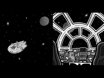 Hyperspace to Yavin 4 journey battle scifi space ship starwars yavin4 hyperspace hansolo millenium falcon millenium star wars animation animatic frames storyboard illustration