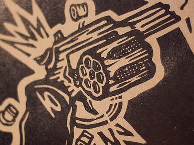 'nem posse nem porte' - woodcut detail black ink western jammed broken prohibition revolver bullet firearm printmaking woodcut