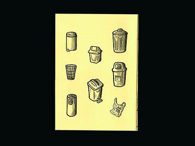 brazilian trash cans (zine page) paper yellow grayscale pencil halftone sharpie texture sequence bin trash page acerca fanzine zine
