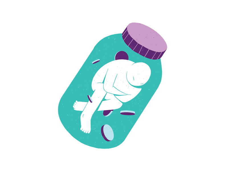 Tummy pain self-medication health illustration