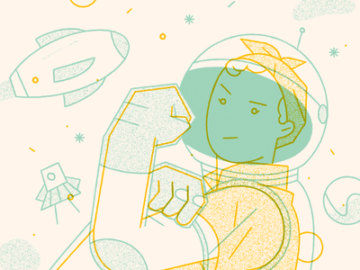 Girls In Space editorial character illustration