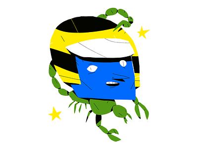 Motoboy helmet scorpion illustration
