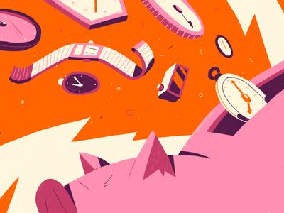 Piggy pig editorial illustration illustration
