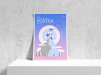 Branding A3 Poster Mockup Free poster mockup free