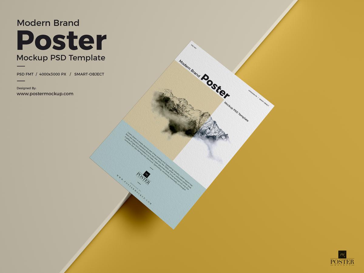 Modern Brand Poster Mockup Psd Template Free Freebies