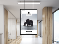 Office Indoor Hanging Poster Mockup Free