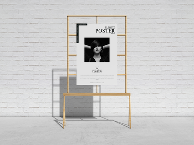 Elegant Wooden Stand Poster Mockup Free