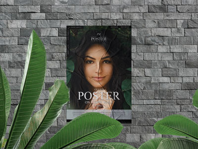 Glued Poster on Stone Wall Mockup Free psd print template stationery mockups logo identity freebie free poster mockup free poster mockup mockup psd mockup free free mockup mock-up mockup frame font download branding