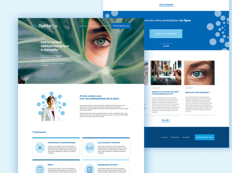 Ophtaline - Centre Ophtalmologique medicine eye optics care medical ui design website site ui