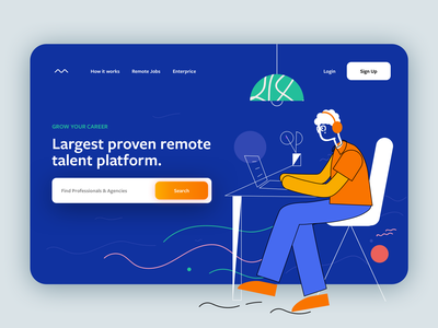 Remote Job Plattform illustration design jobseeker dribbbleshots ui web jobs