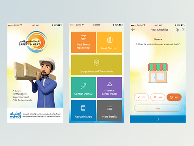 OSHAD - Safety in Heat ux ui safety mobile labor heat health app