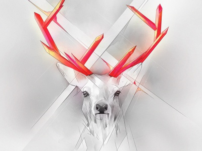 Crystal Horns deer geometric crystal dynamic animals glow illustration shine gleam red magic hind poster incandescence design iridescence black-and-white hart nature light