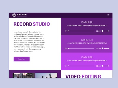 Sonic Boom record studio flat branding web design ui minimal vector wordpress theme design