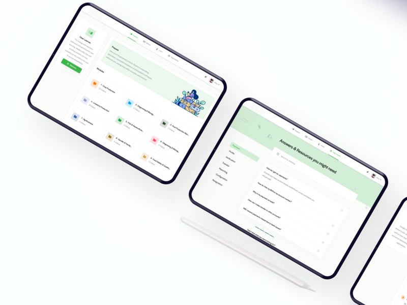 Greene - Learning Platform faq dashboard figma ux design ui