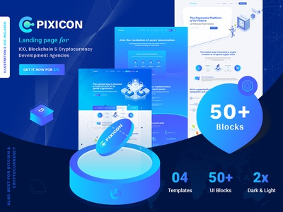 ICO & Cryptocurrency Landing Page online wallet ico template crypto illustration ico landing ico agency ico consulting cryptocurrency currency exchange bitcoin