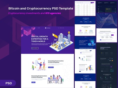 Bitcoin and Cryptocurrency Landing Page ico agency ui business currency exchange agency illustration cryptocurrency bitcoin
