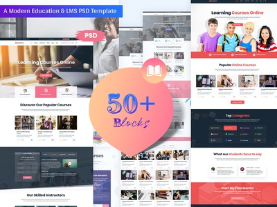 Modern Education & LMS Landing Page university school online courses lms education landing page education courses college business